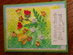 Ombre Green Yellow with red, white and yellow flowers blank 3D handmade card by lilyofthevall77 on Etsy