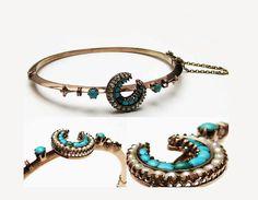 Victorian Turquoise Bracelet / Antique Vintage Victorian Tourquoise Seed Pearl Rose Gold Bracelet / Crescent Bangle Jewelry on Etsy, $240.00