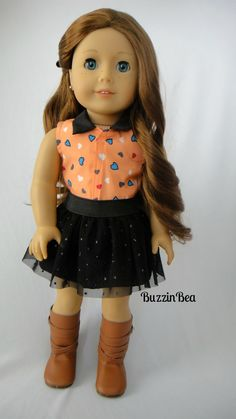 Heart Prints Collared Shirt & Black Tulle Skirt by BuzzinBea on Etsy. Made with the Trendy Skater Skirt pattern, found at http://www.pixiefaire.com/products/trendy-skater-skirt-18-doll-clothes. #pixiefaire #trendyskaterskirt