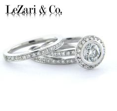 Fridays contemporary & Modern Engagement Ring. If you prefer simple looks, LeZari & Co. bridal sets are perfect choice.   Take a look at today's round bezel set halo ring. This piece includes micro pave set matching bands totaling a 1.65 CT.   http://www.lezari.com/rings/halo/1-65ct-round-halo-with-two-matching-bands-diamond-engagement-ring-and-bridal-set-g523/  for more info & special orders contact: sales@lezari.com