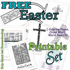 Free Easter Printable Set: Coloring pages, Jesus Cross Word Puzzles, Resurrection Work Search, Stained Glass Cross Pages, Clip Out Words.