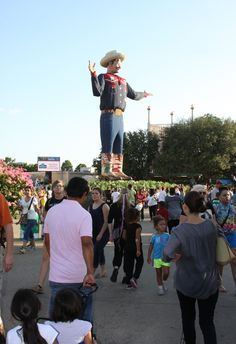 """Big Tex.  The original burned down, but I think they did a nice job with re-doing him.  He """"talks"""" to the crowd too. I liked Big Tex.  Very iconic."""