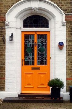 Orange front door entrance Ideas for 2019 Front Door Entrance, Door Entryway, Front Entrances, Entry Doors, Doorway, Orange Front Doors, Orange Door, Cool Doors, Unique Doors