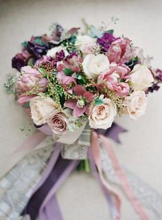 """{Vintage Style Bouquet Composed Of: Cranberry Ranunculus, Purple Sweet Pea, Purple Snapdragon, Dusty Pink Parrot Tulips, Hellebores, Cream Garden Roses, Lavender """"Vintage"""" Roses, & Green Foliage, Hand Tied Together With Lavender, Purple, Lace, & Gray/White Striped Ribbons···········}"""