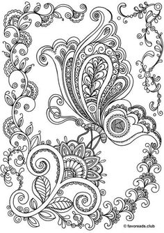 Butterfly Coloring Page, Mandala Coloring Pages, Animal Coloring Pages, Coloring Pages To Print, Free Coloring Pages, Coloring Books, Kids Coloring, Paisley Coloring Pages, Flower Coloring Sheets