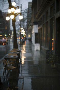 soft warm lights on a rainy day