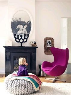 KNITWORKS, studio for the design and production of knitted fabrics, knitwear, interior textiles and accessoires. Arne Jacobsen, Sillon Egg, Deco Retro, Cozy Chair, Cosy Corner, Hallway Designs, Home Living, Living Room, Vintage Design