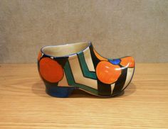 CLARICE-CLIFF-large-size-CLOG-or-SABOT-in-PICASSO-FLOWER-