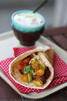 So excited about dinner tonight!! Pita Sandwiches with Flank Steak, Tomato and Avocado and Lemony Yogurt Sauce