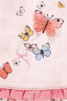 Buy Pink Butterfly Set from the Next UK online shop Baby Girl Items, Kids Nightwear, Kids Graphics, Kids Prints, Baby Shirts, Embroidery Techniques, Fabric Painting, Kids Wear, Cute Kids