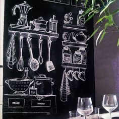 Vantagens e desavantagem da parede lousa - A Casa que a minha Vó queriaA Casa que a minha Vó queria Kitchen Blackboard, Blackboard Art, Chalkboard Lettering, Chalkboard Designs, Chalk Wall, Chalk Drawings, Blackboards, Cafe Design, Restaurant Design