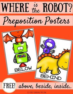 Cute preposition posters for kids! Helpful for teaching words like under, over and through. In color and black and white!
