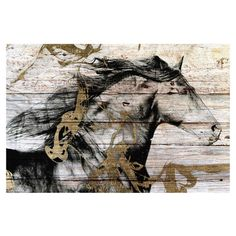 Embrace traditional style with this eye-catching wall decor, depicting a classic horse motif printed on reclaimed barn wood. Display it in your parlor for an...