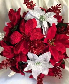 Red Christmas Bouquet Red Poinsettias Winter by MyFairyTaleFlowers