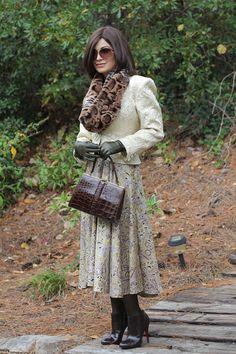 Homemade vintage dress, vintage Ungaro and a vintage croc bag (with Christian Louboutin booties)
