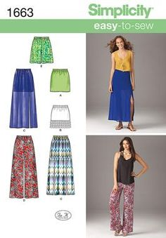 I may have to start sewing again to get the  kind of pants I want to wear. These pants paired with a cute hand knit top - tres chic! Simplicity Creative Group - Misses' Easy to Sew Skirts & Pants