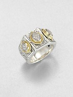 Konstantino Sterling Silver & 18K Gold Pavé Diamond Ring