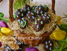 Coconut Peanut Butter Easter Eggs Recipe - TheBakingPan.com - How to Make Coconut Peanut Butter Easter Eggs  Delight your family and guests with these candy Easter eggs made with a coconut, peanut butter, and nut center. After the egg-shaped candies are dipped in chocolate, serve as is or decorate with Royal Icing.