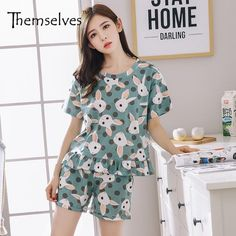 fb2ae670ba Womens Summer Pajamas Set Cotton Pyjamas Women Round Neck Sleepwear Short