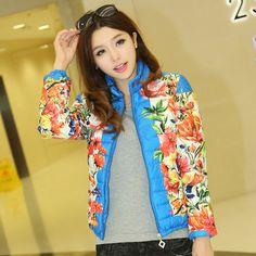 Free shipping , 2013 fashion slim cotton prints short design women Autumn Floral wadded jacket cotton-padded jacket $27.90