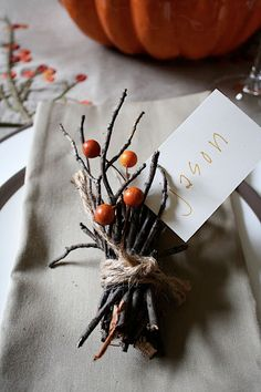 5 Eco Friendly Fall Place Card Ideas - Got a dinner party coming up? Here's some ideas for sustainable place cards!
