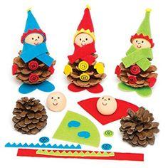 Kits de fabrication de lutins en pommes de pins naturelles pour enfant - Assortiment de jouets de loisirs créatifs à personnaliser pour les enfants (Lot de 5).