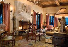 Designers Joan Simonsen-Hickok and Wendy Klingensmith furnished this living room to reflect how Mizner would have designed a space in the 1920s.
