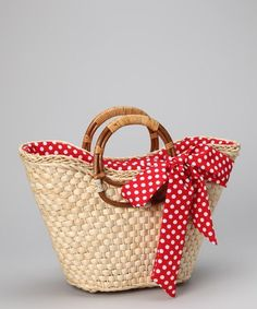 Another great find on Straw Studios Red Polka Dot Straw Tote Diy Sac, Diy Tote Bag, Jute Bags, Straw Tote, Basket Bag, Crochet Handbags, Denim Bag, Summer Bags, Handmade Bags