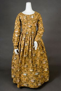 Seaweed & Floral Printed Cotton Dress, c. 1835 -