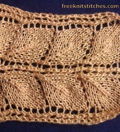Knitting Stitch Patterns -- Leaf Stitches -- Leaves stripe