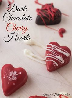 Make Dark Chocolate Cherry Hearts for Valentine's Day. They take minutes to create and look gorgeous. Stick them in a clear bag, tie with pretty ribbon and give to teachers, neighbors and friends.