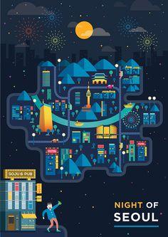 국내/서울의 밤을 재미있게표현한 포스터입니다. 랜드마크는 잘살리면서 깔끔하고 이쁜색이 인상적입니다.