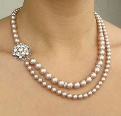 Champagne Pearl Bridal Necklace Wedding Jewelry by luxedeluxe, $92.00