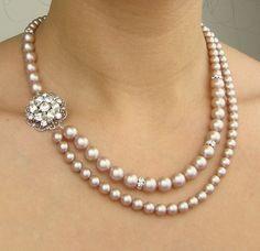 Champagne Pearl Bridal Necklace, Wedding Jewelry, Champagne Wedding Necklace, Vintage Bridal Jewelry, Statement Necklace, CELINE. $92.00, via Etsy.