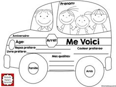 All About Me School Bus: This All About Me School Bus is a great self-reflection activity that will allow your students to share information about themselves and learn new things about other students. All About Me Printable, All About Me Worksheet, French Teacher, Teaching French, I School, First Day Of School, School Stuff, School Ideas, French Worksheets