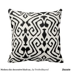 Modern chic decorative black and white ikat pillow