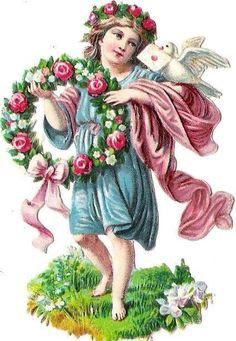 Oblaten Glanzbild scrap die cut  chromo  Blumen Elfe Taube dove elf Kranz wreath at.picclick.com