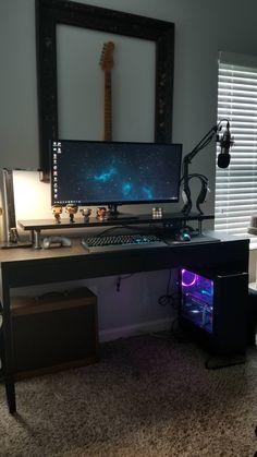 First Time Posting My Battlestation - battlestations Gaming Computer Setup, Gaming Room Setup, Pc Setup, Gaming Rooms, Computer Desks, Deco Gamer, Casa Top, Home Music, Home Office Setup