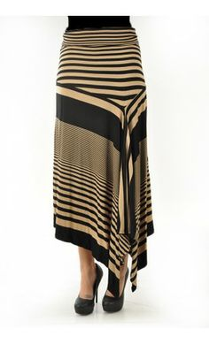 Womens striped maxi skirt with gathered look - Apostolic Clothing
