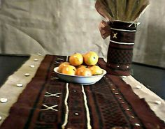 Burlap and African Mud Cloth Table Runner by AshanteCulture