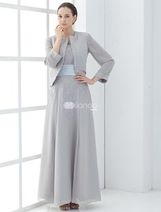 Quality Silver Chiffon Embroidered A-Line Mother of The Bride Dress. This dress is two-piece, including the over jacket.. See More Mother of the Bride Dresses at http://www.ourgreatshop.com/Mother-of-the-Bride-Dresses-C928.aspx