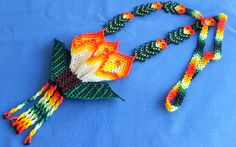 Mexican Huichol Beaded flower necklace by Aramara on Etsy, $49.00
