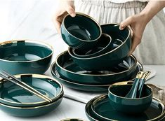 Green Ceramic Gold Inlay Plate Steak Food Plate Nordic Style Tableware Bowl Ins Dinner Dish High End Porcelain Dinnerware Set – Tableware Design 2020 Porcelain Dinnerware, Ceramic Tableware, Dinnerware Sets, Green Dinnerware, Kitchenware, Crockery Set, Vintage Dinnerware, Ceramic Decor, Porcelain Ceramics
