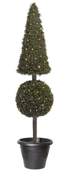 """6FT Artificial Boxwood Cone Topiary for special events and venues.    Commercial quality plant like features Plant stands 6ft tall Plant cone width 11"""" 250 Warm white 5mm LED lights Weight base included (7.5""""H x 8.75""""W) Decorative pot sold separately"""