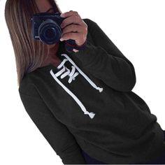 ファッション女性カジュアル長袖原宿ネクタイ襟スウェット女性の愛ピンクプルオーバーパーカー高品質ht