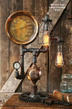"Steampunk Lamp, Antique Brass 10"" Steam Gauge and Gear Base #193 MTO"