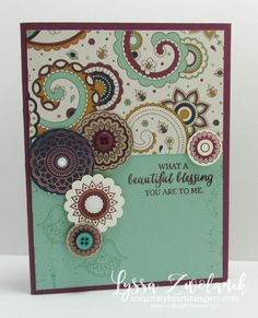 Paisleys and Posies Stampin Up  blessing card Designer Series Paper