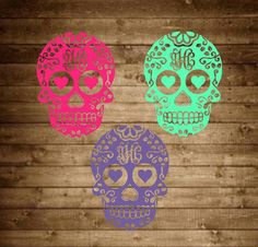 Monogram sugar skull decal monogram decal by SapphirePearlDesigns Mom Mobile, Monogram Decal, Cup Design, Cricut Creations, Silhouette Projects, Car Accessories, Vinyl Decals, Stencils, Initials