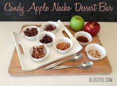 Candy apple nachos. A fun Halloween dessert. Use your trick or treat candy! www.illistyle.com