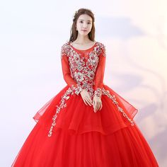 2fca480c796b3 US $121.68 22% OFF|Red Quinceanera Dresses Long Sleeve Ball Gown Lace Beads  Sweet 16 Dresses For 15 Years Floor Length Vestido De Debutante-in  Quinceanera ...